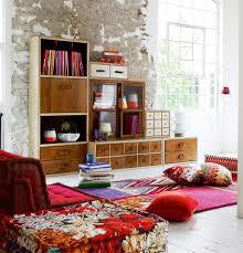 eccentric wall style for boho chic living room furniture with mid century apartment storage ideas boho style furniture