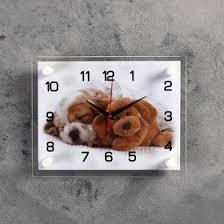 """<b>Часы</b> настенные, серия: Животный мир, """"Щенок и <b>мишка</b>"""", 20х26 ..."""