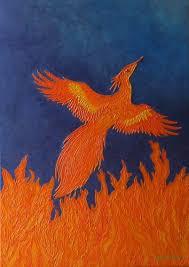 <b>Fire</b> of Creation - recreation of <b>phoenix painting</b>; home, office decor ...