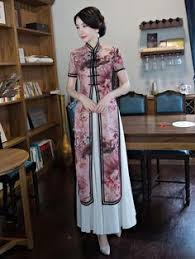 Vintage Print Stand-collar Ao Dai <b>Long</b> Cheongsam in 2019 | Ao Dai ...