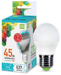 <b>Лампа светодиодная</b> ASD <b>LED</b>-ШАР-STD 4000K, <b>E27</b>, G45, <b>5Вт</b>