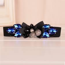 Blue Elastic <b>Women Belt Rhinestones</b> Stretch <b>Braided</b> Waist Ladies ...
