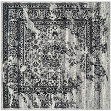 adirondack silverblack 4 ft x 4 ft square area rug california shag black 4 ft