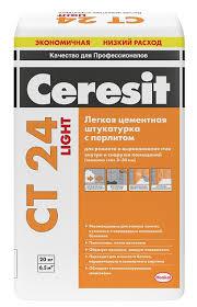 <b>Штукатурка цементная Ceresit</b> CT24 Light с перлитом, 20 кг за ...