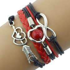 <b>Fashion</b> Infinity Love Heart <b>Pearl</b> Friendship Antique Leather Charm ...