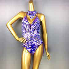 2019 <b>Female Bodysuit Sequins Sparkling</b> Swimsuit Latin Belly ...