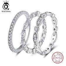 <b>ORSA JEWELS 925 Sterling</b> Silver Rings Women Round Prong ...