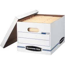 bankers box storagefile storage box whiteblue 12ct boxes stack office file