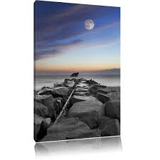 East Urban <b>Home Stone Wall</b> by the Sea Art with Beautiful Evening ...