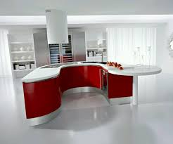 kitchen modern cabinets designs: cool white and red kitchen interior with modern kitchen cabinets completed with electric range and countertop also furnished with double basin sink