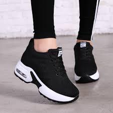 Hide Heel Fashion Sneakers <b>Women Flying Knitting</b> Casual Shoes ...
