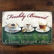 home decor plate x: quotclassic italian coffeequot tin plate signs movie poster art cafe bar vintage metal painting quot
