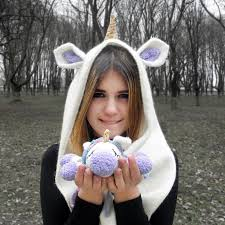 Unicorn hooded scarf adult women Cute things to buy your girlfriend ...