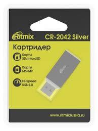 <b>Картридер</b> внешний <<b>CR</b>-<b>2042</b>> USB-<b>microSD</b>/<b>SD</b>/<b>MS</b>/<b>M2</b> Silver ...