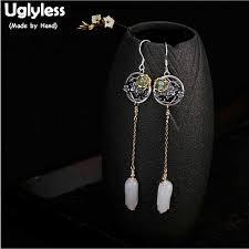 Uglyless <b>S 925 Sterling Silver Natural</b> Green Jade Circle Earrings ...