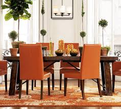 Orange Dining Room Chairs Orange Dining Room Decoration With Orange Chairs And Wooden Table