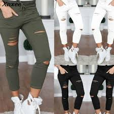 <b>New 2018</b> Skinny Jeans Women Denim Pants Holes Destroyed ...