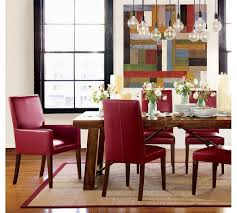 modern wood dining room sets: modern dining room furniture sets with red armchairs made of leather and rectangular wooden table