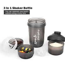 3 In 1 Protein Powder <b>Shake Cup</b> Water Bottles Detachable Whey ...