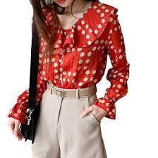 Shop Women's Dot Print <b>Ruffled</b> Collar Casual Loose Long <b>Butterfly</b> ...