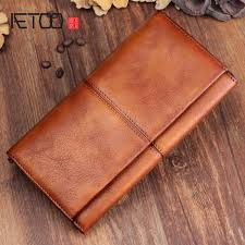 <b>AETOO</b> Men's <b>handmade</b> leather long wallet <b>retro first</b> layer of ...