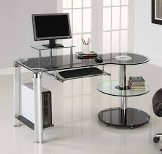 round office desk lavish tempered glass office desk with stainless steel frame and keyboard shelf also amazing executive modern secretary office desk