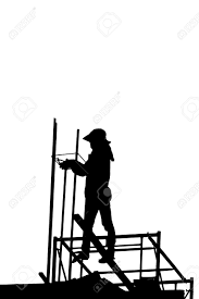 builder silhouette of construction worker on scaffold stock photo stock photo builder silhouette of construction worker on scaffold