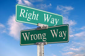 Street sign:  Right Way  Wrong Way