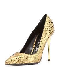 <b>Tom Ford</b> Python Point-Toe <b>Stiletto</b> Pump, Gold | Manolo blahnik ...