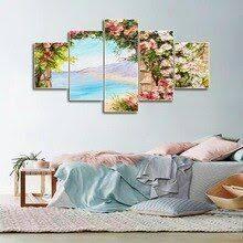 <b>Laeacco Canvas</b> Calligraphy Painting Abstract <b>5 Panel</b> Garden ...