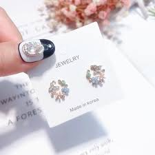 2018 <b>Butterfly</b> Rhinestone <b>Colorful Flower</b> Lovely Stud Earrings For ...