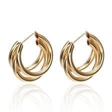 Shop EK284 New <b>Fashion</b> Silver Gold Color Metal <b>Round Circle</b> ...