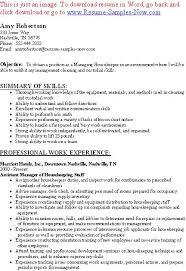 entry level hotel housekeeper resume samples eager world entry level housekeeper resumes
