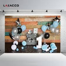 2019 <b>Laeacco Wooden Board Planks</b> Balloon 1st Birthday Baby ...