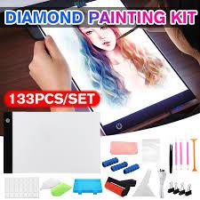 Professional 133PCS 5D <b>Diamond Painting A4 LED</b> Light Pad Kit ...
