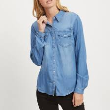 Рубашка <b>приталенная</b> с длинными рукавами синий деним Vila ...