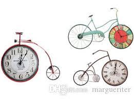<b>Vintage Iron Bicycle Shape</b> Wall Clock Antique Style Wall Clocks ...