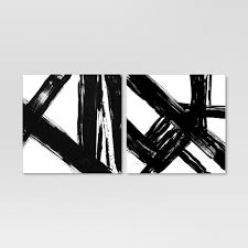 "(Set Of 2) 22"" X 22"" <b>Abstract Black And</b> White Embellished Canvas ..."