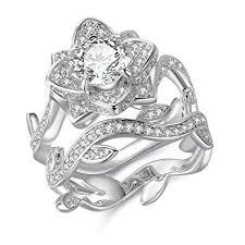 Newshe Flower Wedding Rings for Women ... - Amazon.com