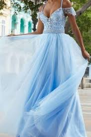<b>A-line Tulle</b> Sky Blue <b>Crystals</b> Beaded Prom Dress Gown Near Me