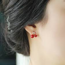 <b>Korean Style</b> Earing fashion jewelry Lovely <b>Red</b> Crystal Small ...