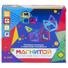 <b>Магнитой Конструктор магнитный</b> 12 квадратов, <b>8</b> треугольников ...