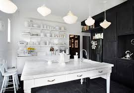 Black And White Kitchen Table Classic Black White Kitchen Design With Pendant Lamps And White