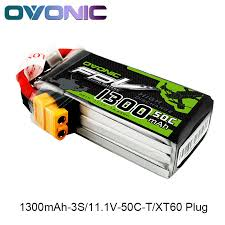 <b>OVONIC</b> 1300mAh 50C Max 100C Lipo <b>3S 11.1V</b> Battery with XT60 ...