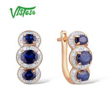 2019 <b>VISTOSO Gold Earrings For</b> Women 14K 585 Rose Gold ...