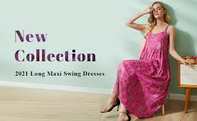 YESNO Women Casual Loose Bohemian Floral Print Dresses ...