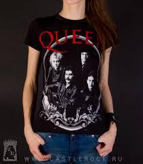 Женская <b>футболка Queen</b> (группа ч/б, красная надпись ...