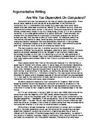 argumentative writing   are we too dependent on computers   gcse  page  zoom in marked by a teacher