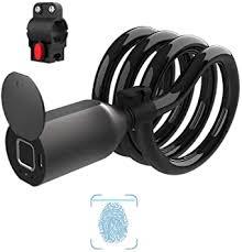 eLinkSmart <b>Fingerprint Bicycle Lock</b> Steel Cable Lock Electric ...