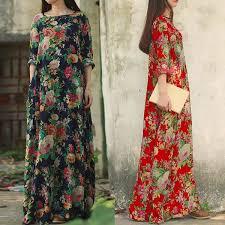Plus Fashion Vintage <b>Womens</b> Cotton Loose <b>Long</b> Sleeve <b>Floral</b> ...